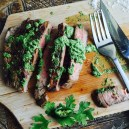 Steak and coriander pesto