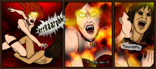 Snippet from the vampire webcomic Wayward Fall by Taversia