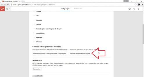 """Clique no botão """"Gerenciar atividade Google+"""" (fica abaixo de Gerenciar outros aplicativos e atividades.."""