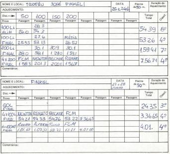 Anotações registradas no DIÁRIO DO NADADOR.