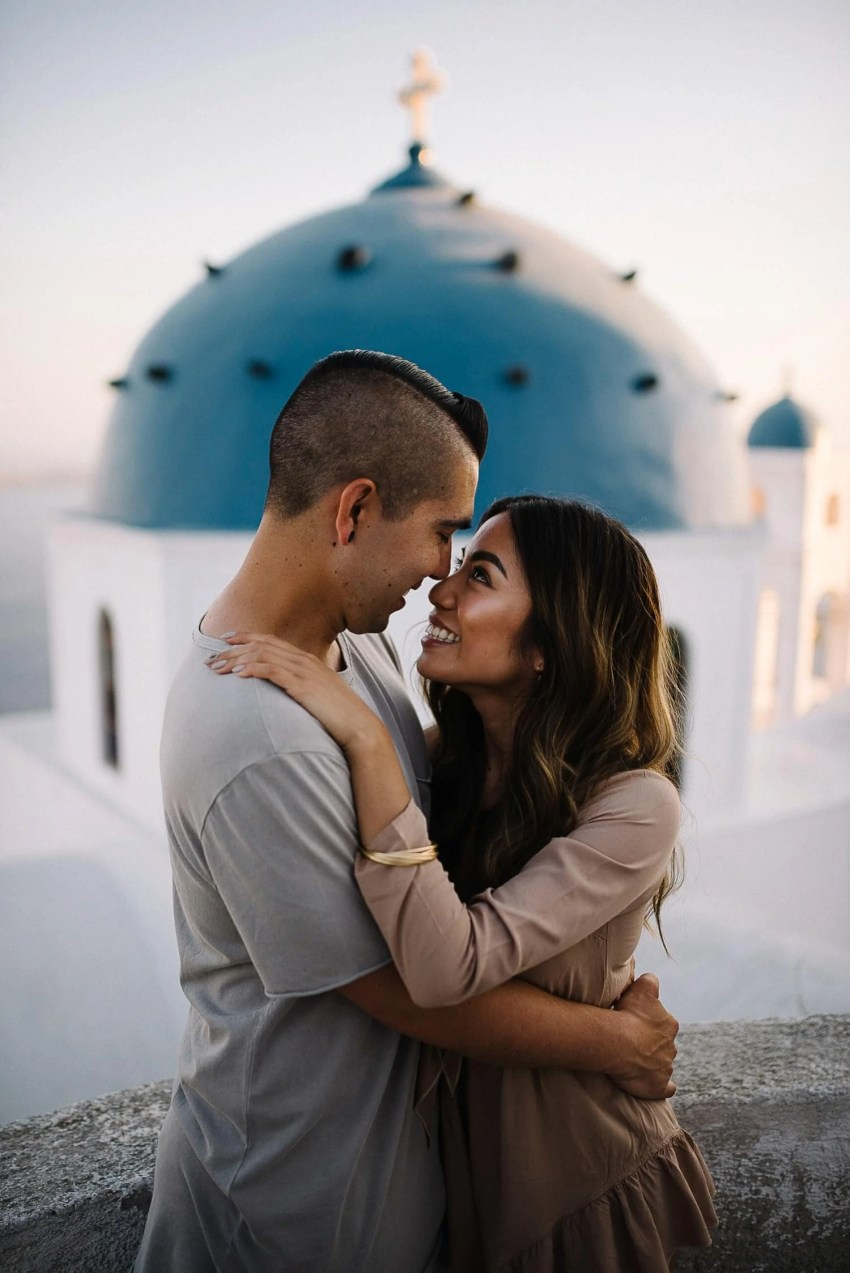 Santorini engagement photographer proposal