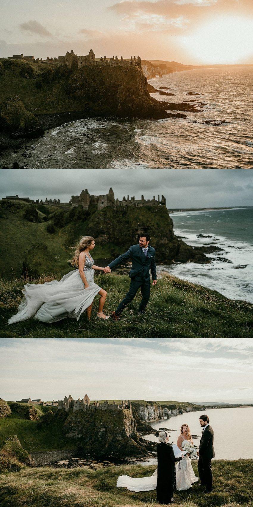 The best places to elope in Ireland, Irish elopements. Northern Ireland elopement. Dunluce Castle, Co Antrim, Northern Ireland