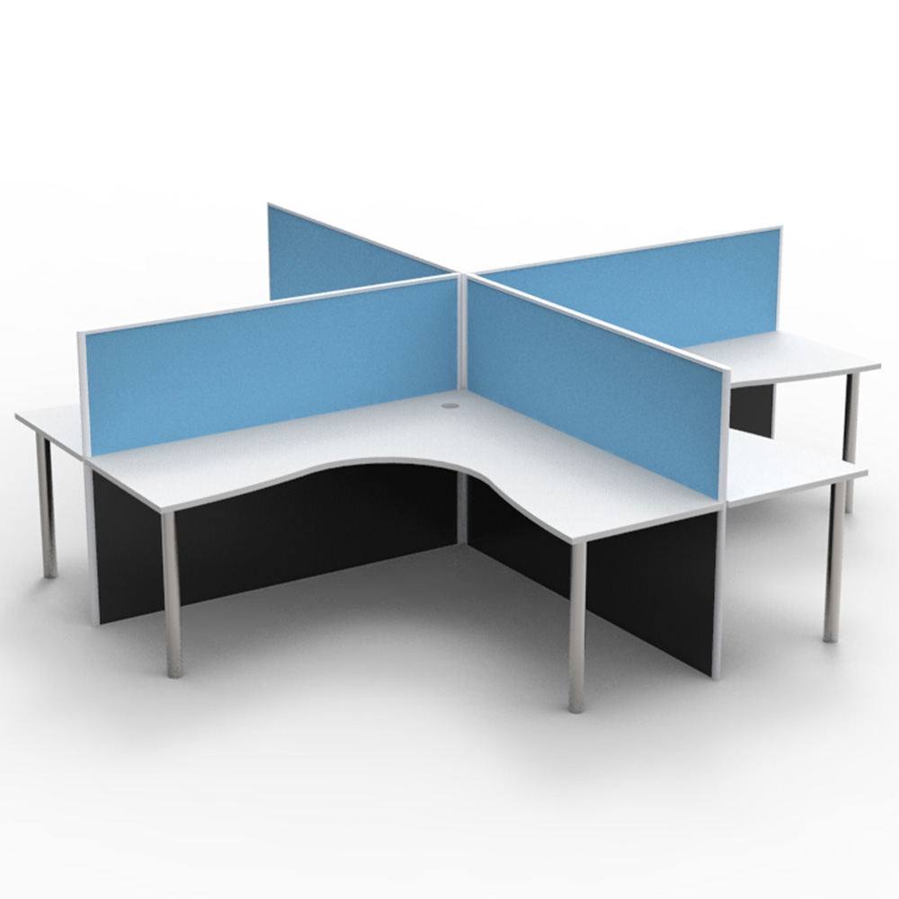 4 Person Screen Hung Top Corner Workstation Pod Epic Office