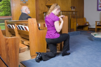 I see this constantly! Genuflecting is the most pronounced gesture we employ at Mass, so it is reserved for the highest good — the Eucharist Himself. Where's the Eucharist? In the Tabernacle. Some might be in this habit because the tabernacle is often directly behind the altar. Before getting in your pew, if and only IF the Tabernacle is visible, genuflect toward it. If it's not in view, bow toward the altar. Now you know. And this applies outside of Mass too. [image from ourladyoflourdesmagnautah.com]