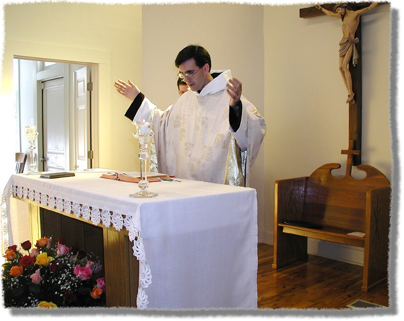 No. Just no. You'll see priests assume the Orans position (hands extended to the side) a few times; it is a posture that indicates that he is praying on our behalf, but not in the way that I pray for you. He's praying on our behalf in persona Christi capitas. This is why the rubrics don't allow for deacons to adopt the Orans posture, and it's the main reason we shouldn't either. [image from canonlaw.info]