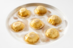 Ravioli with buffalo ricotta, cacio/pepe and capers