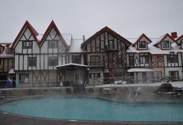 The heated pool at Boyne Highlands.