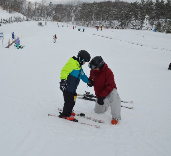 Our grandson has his first ski lesson too.