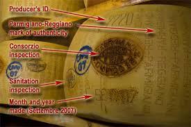 Markings to prove parmigiano reggiano's authenticity