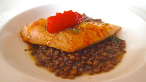 Tassa's Japanese yellow trout with ketchup and lentils from Ustica