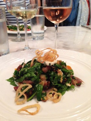 Spinach & Duck Confit Salad at Pescara Wood Oven Kitchen, Atlantic Beach (Photo by Leah Wynalek)