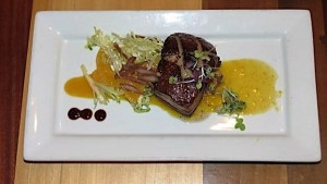 Tea-braised pork belly on kumquat jelly