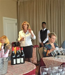 Diane Rousakis, representing United Distributors, speaking with knowledge and passion about wines.