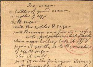 Jefferson's ice cream recipe