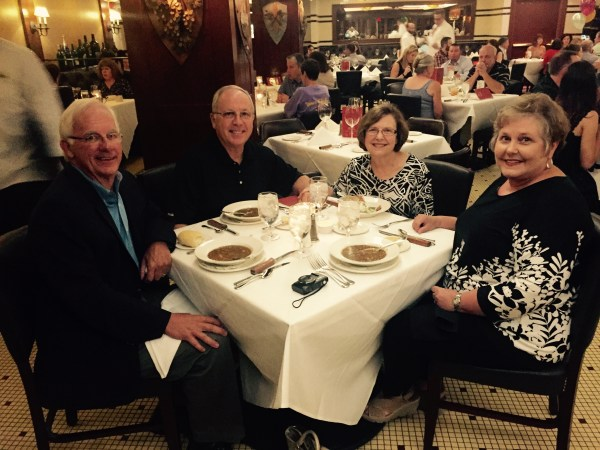 Dinner with friends at Dickie Brennan's Steakhouse in New Orleans.