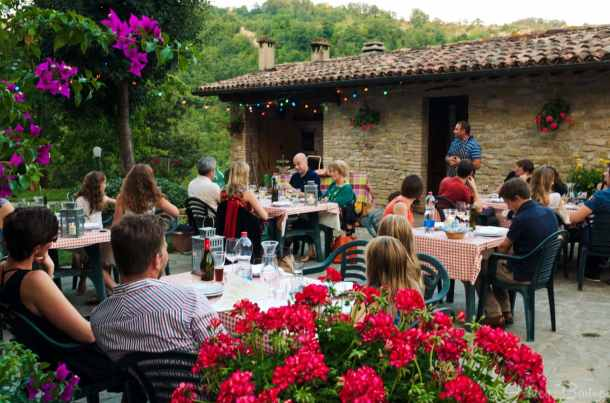 Dinner at La Tavola Marche Cooking School in Le Marche, Italy.