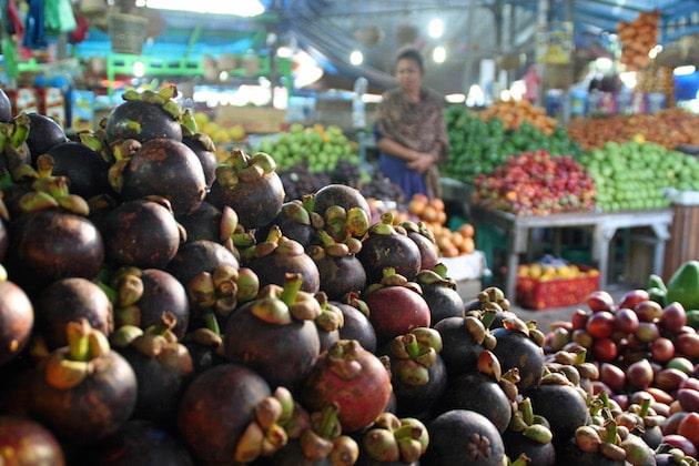 Stall selling mangosteen in Berastagi's local market