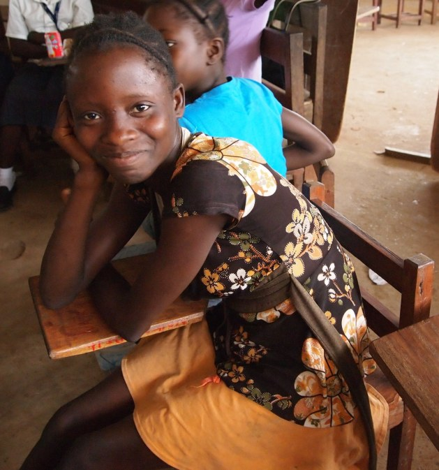 A young female student at school in Liberia