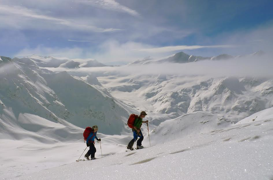 Skiing the Ortler Circuit.  Photo courtesy of Borealis Mountain Guides.