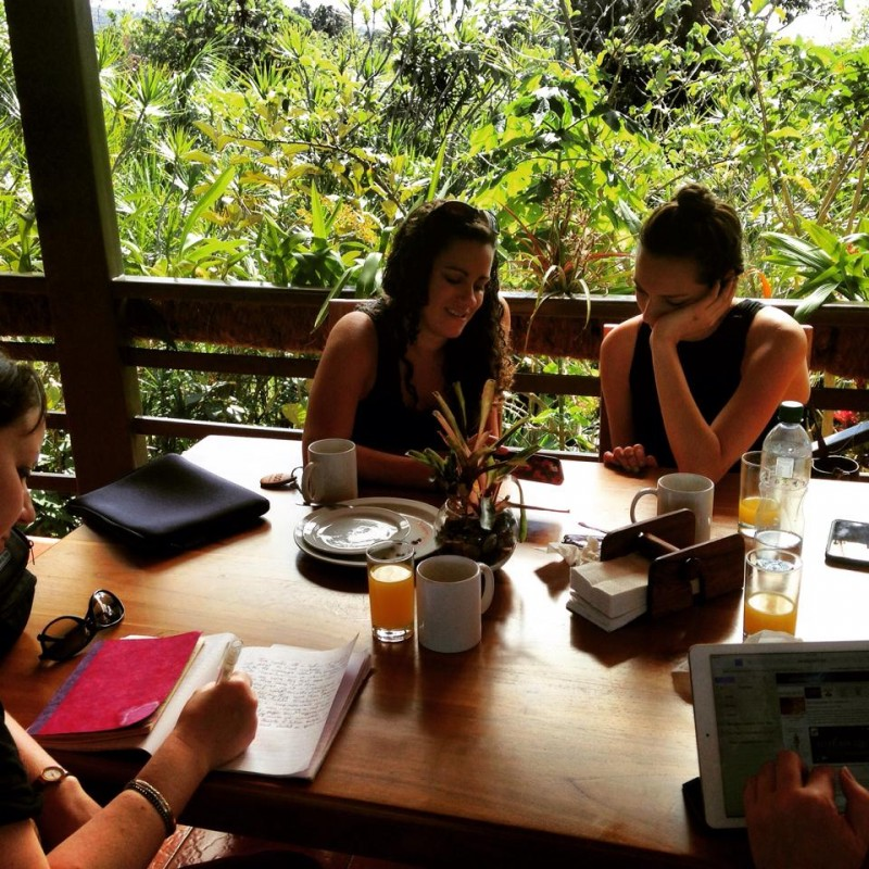 Writing at Breakfast in Costa Rica.