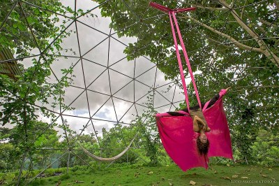 Yoga in Aerial Silks in Costa Rica. Photo courtesy of Rancho Delicioso.