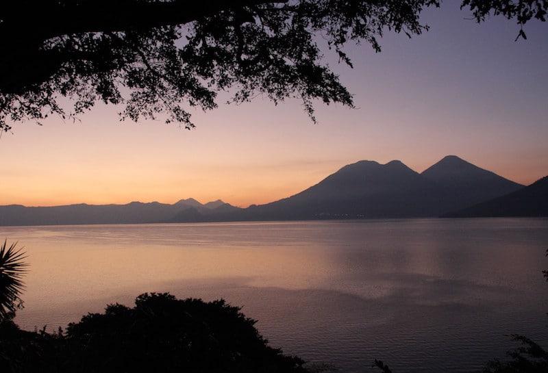 the sunset on Lake Atitlan in San Pablo La Laguna