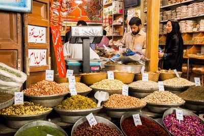 Food in Iran at the spice market