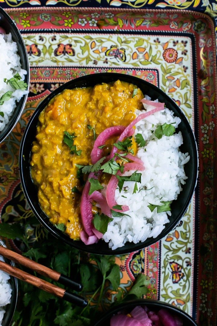 A beautiful bowl of lentil and butternut squash curry