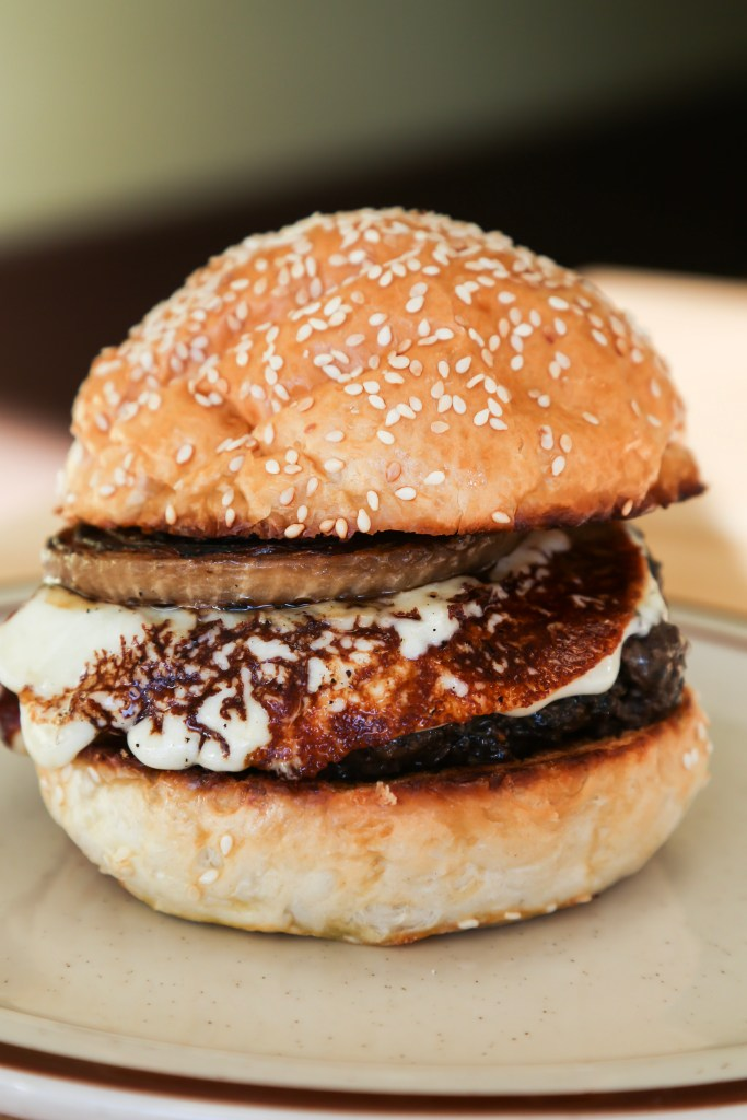Up close of the mushroom burger