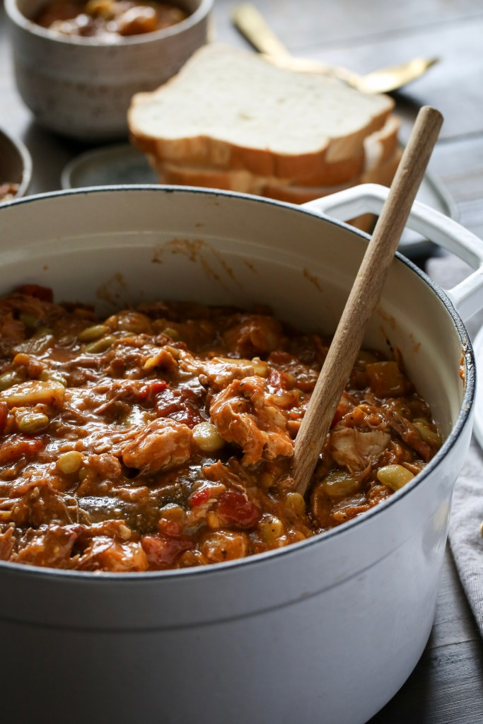 A big pot of hearty brunswick stew and slices of bread