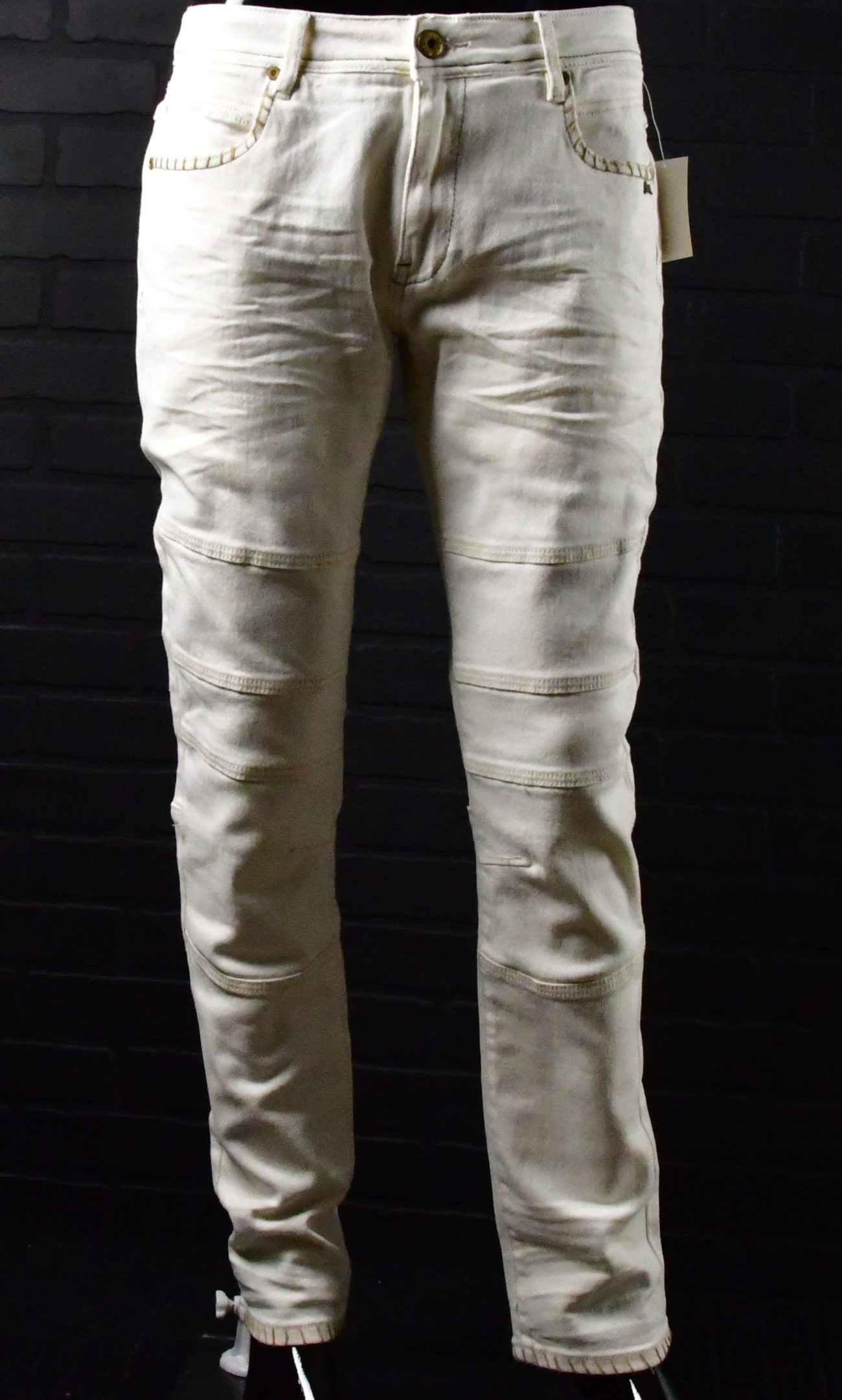 men s cream colored deep stitched denim epic vibez
