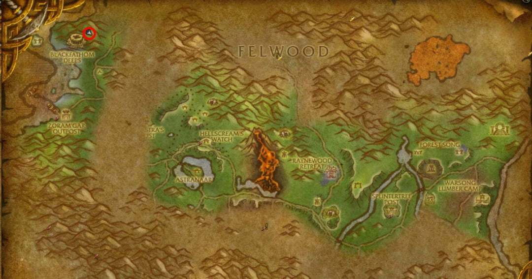 Blackfathom Deeps location map