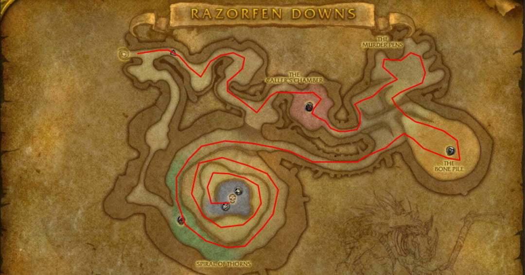 Dungeon Fasrms Razorfen Downs Route