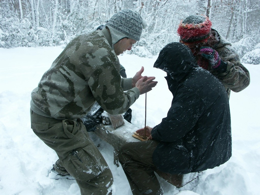 Hand drill in the snow