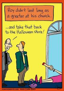 Cartoon of person playing a practical joke at Halloween