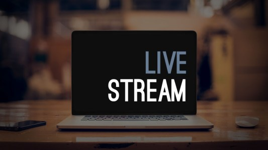 Graphic that says Live Stream on a computer laptop screen.