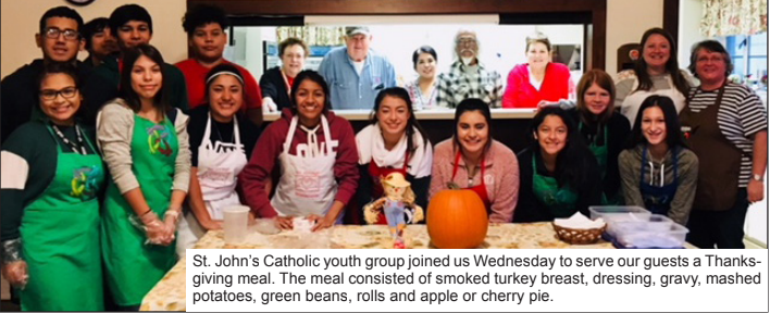 Catholic youth assist our Wednesday Supper Mission