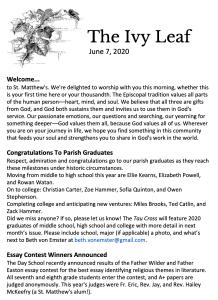 Ivy Leaf for Trinity Sunday 2020