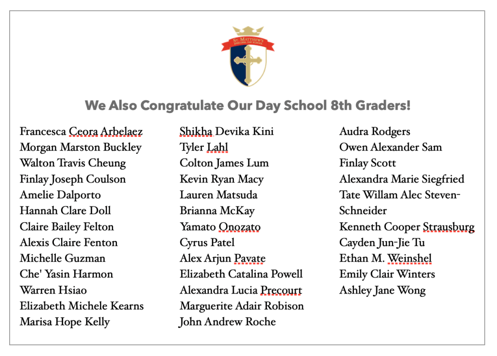 A list of St. Matthew's Episcopal Day School 2020 Graduates