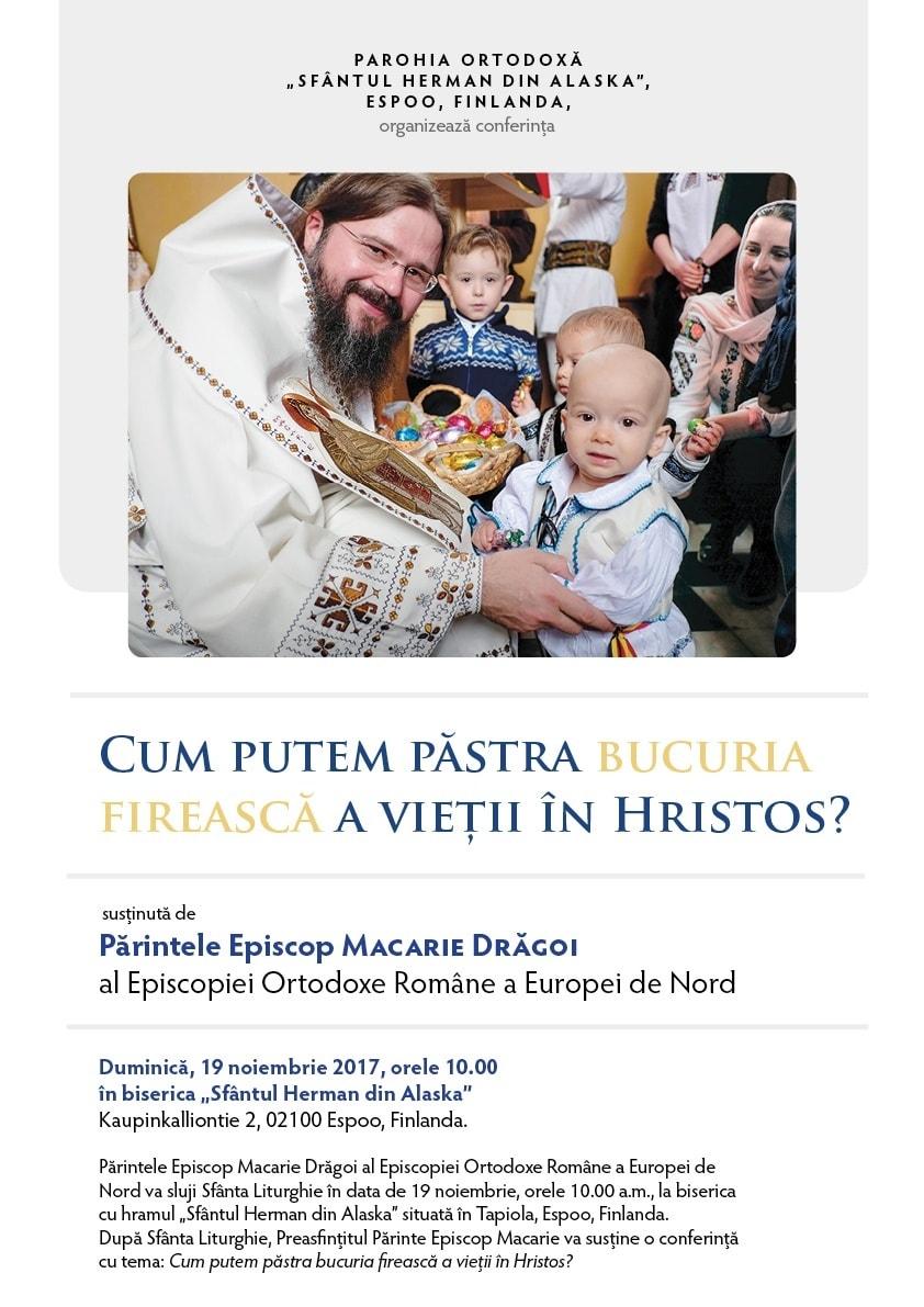 Preasfințitul Părinte Episcop Macarie Drăgoi va conferenția în Finlanda