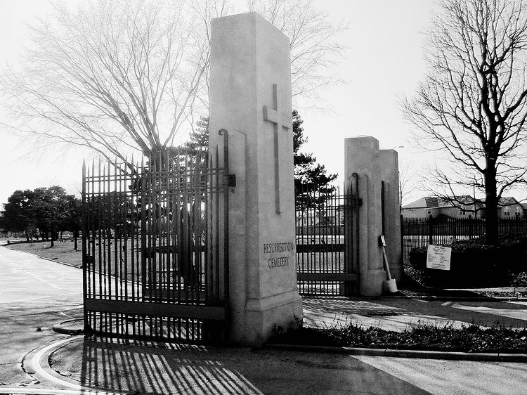 The gates of Resurrection Cemetery, the final resting place of the girl known in ghostlore as Resurrection Mary.