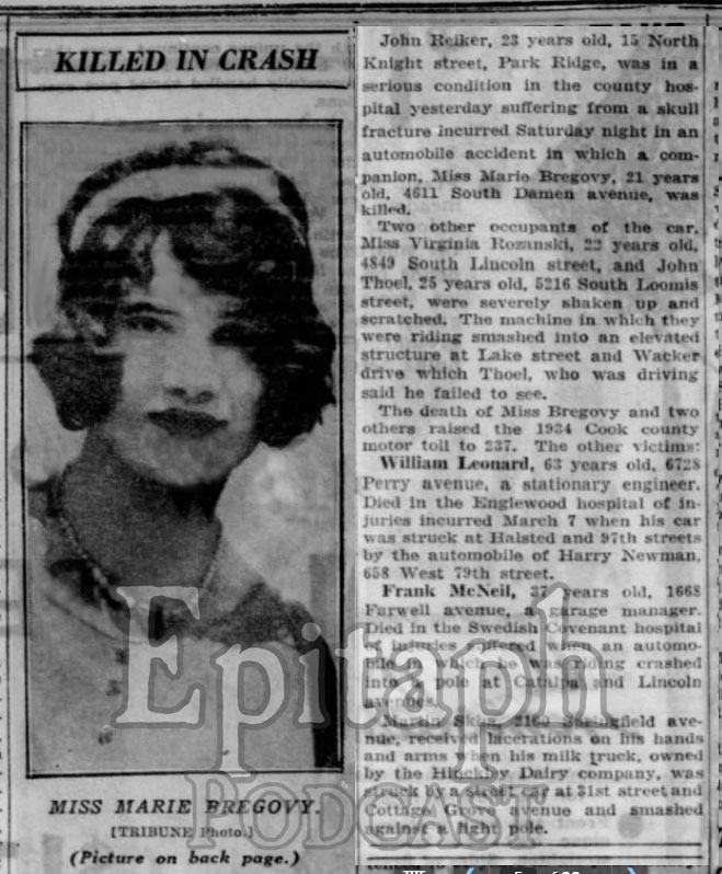 Article: Chicago Tribune article from March 12, 1934 describing the accident which killed Mary Bregovy (Source: Newspapers.com).