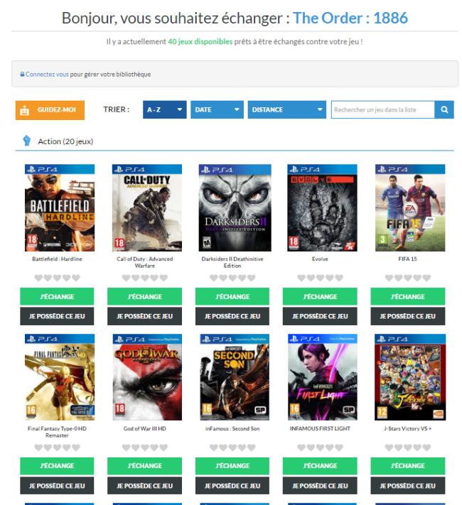 Game2Game-Choix de jeux à échanger