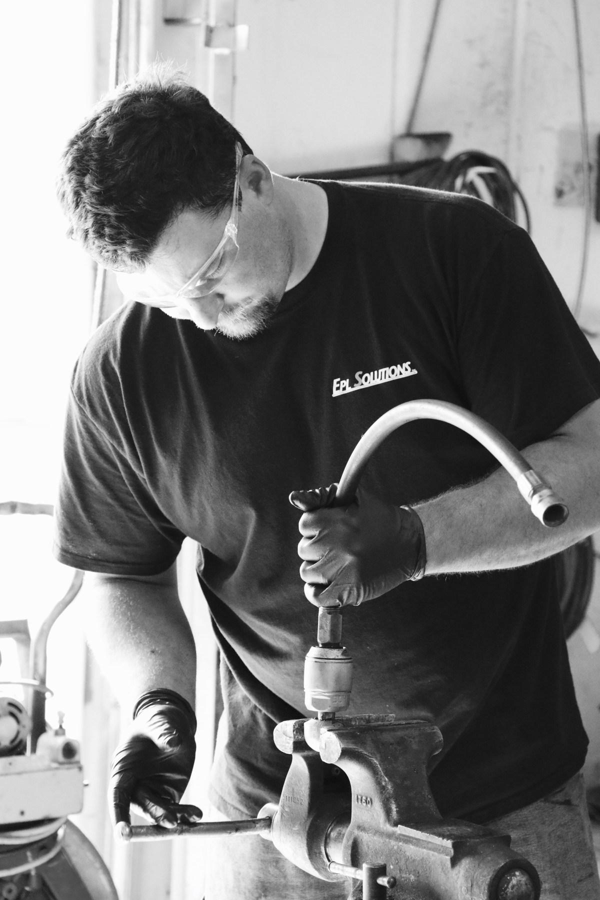 Demonstration of technician repairing warthog nozzle