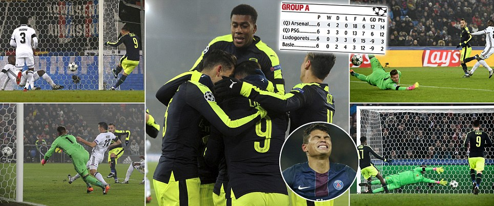 Arsenal top of champions league group