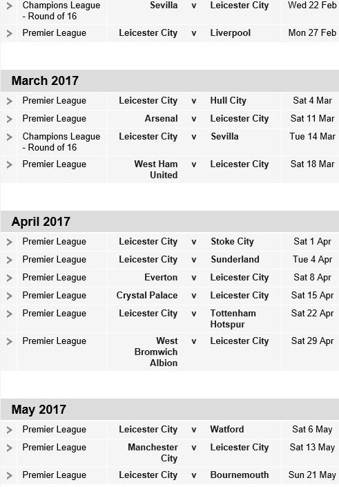 Leicester Upcoming fixture