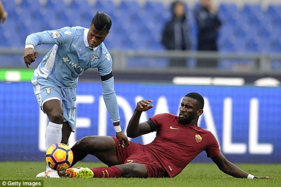 Rudiger tackles lazio player
