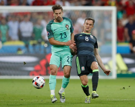 Adrien Silva playing for Portugal vs Wales