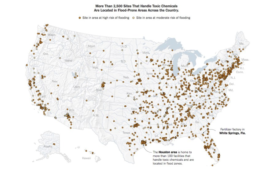 Map - Toxic Chem Plants in Flood Plains - NYT 2018-02-10