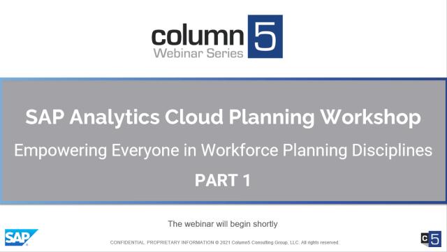 PART 1 – Hands-On Virtual Training – SAP Analytics Cloud Planning Workshop